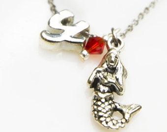Mermaid necklace, mermaid charm, nautical necklace, personalized necklace, mermaid, mermaid charm, initial necklace, initial charm, monogram