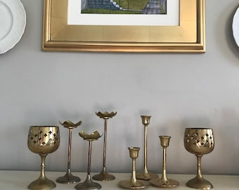 Brass candlestick collection-mid century brass-instant collection-8 pieces