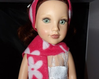 Pink and white floral headband & scarf set for 18 inch dolls - ag261