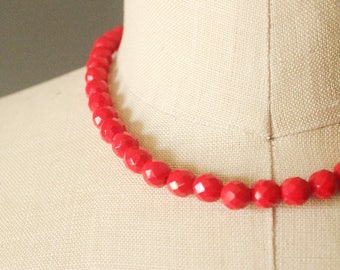 Vintage 40's/50's Red Faceted Glass Beaded Single Strand Necklace, made in West Germany