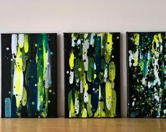 trio of small abstract canvases 'progression'