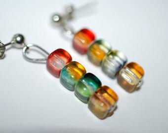 Rainbow Cube Earrings