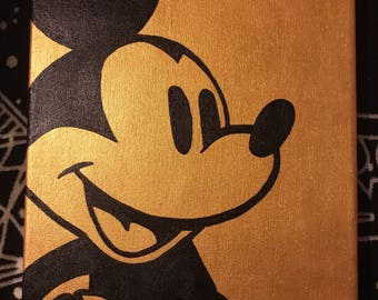 Mickey Mouse Golden Acrylic Painting On Canvas