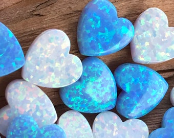 Heart OPAL Charm 10mm- Light Blue ,White or Mixed - Heart Pendant Wholesale Lot,Flat, with Side Holes - Jewelry Making Opal Heart Charm