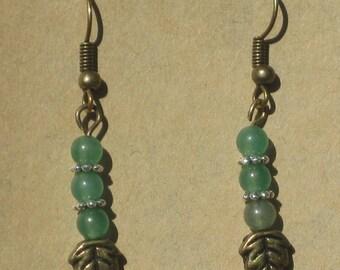 Brass Leaf with Aventurine Beads