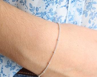 Delicate Sterling Silver Chain and Beads Bracelet, Dainty Bracelet, Minimalist, Adjustable, Stackable Bracelet