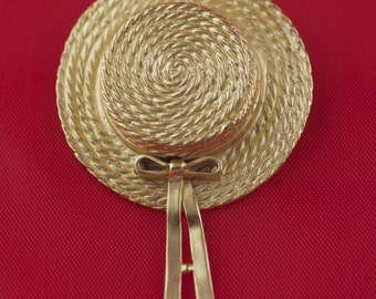Vintage Carolee Gold Tone Brooch, Carolee Brooch, Carolee Jewelry, Gardener Jewelry, Easter Hat Brooch, Southern Belle, Gifts for Gardeners