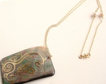 Butterfly motif and Asian inspired pendant with gold filled chain necklace