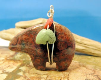 Birdseye Rhyolite Stone Zuni Bear Pendant  with Coral and Turquoise medicine bundle New Zuni Bears Gemstone