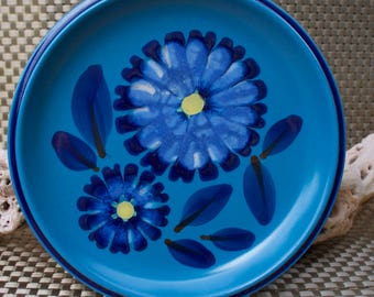 Pair Noritake Folkstone Twilight Bread/Salad Plates - Blue Floral Vintage Stoneware -8512 - Japan