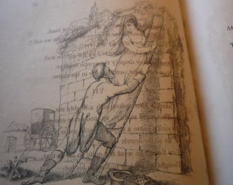 1821 Taking A Miss - English Etching - Richard Dagley Life of a Collegian antique - fine detail - matted for 8 x 10 - portrait