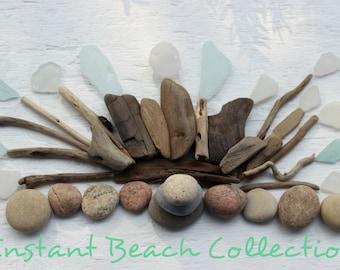Instant Beach seaglass Collection , Natural Coastal Decoration , Nautical Home Decor BC45