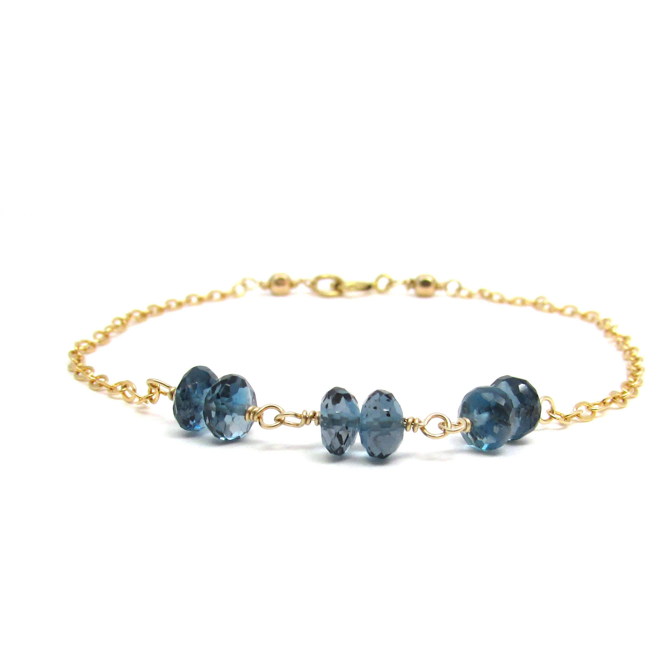 London Blue Topaz Bracelet December Birthstone Bracelet Gold