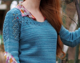 Hand Knitting Pattern // Floriculture Women's Pullover Seamless Hand Knit Jumper // DK Weight Lace Drop Shoulder Sweater with Scoop Neck