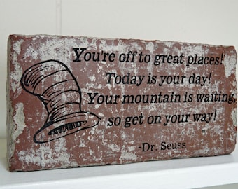 Dr. Seuss You're Off To Great Places Engraved Red Brick Bookend Doorstop Home Or Office Decor