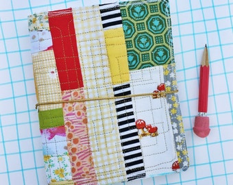 Fabric planner, Quilted journal cover, fauxdori, gold thread quilt travel journal