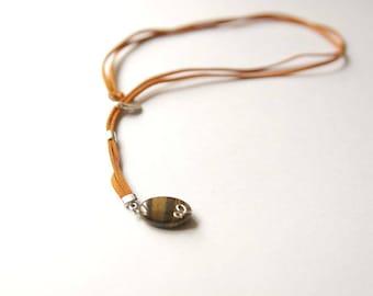 Tiger Eye Lariat, Suede Cord, Tiger Eye Pendant, Tiger Eye Oval Beads, Tiger Eye Long Necklace, Tiger Eye Jewelry