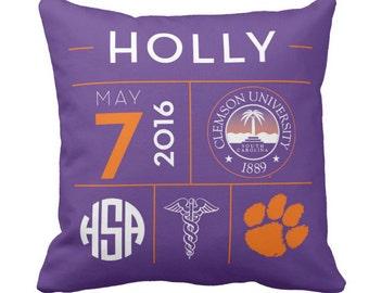 Personalized Decorative Graduation Day Throw Pillow, Monogram Custom Pillow, Choose colors, college  pillow, dorm bedding, graduation gift