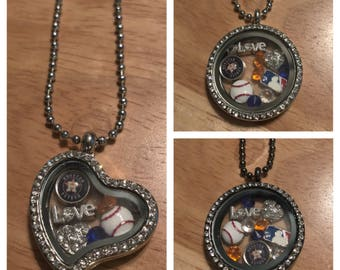 astros Baseball floating charm necklace! Free shipping!