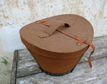 Vintage Antique 1900s French canvas & leather top hat box / timeworn