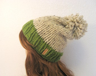 Knit Hat,Knit Women Hat, Slouchy Knit Hat with Pom Pom / VAIL / Grass & Oatmeal
