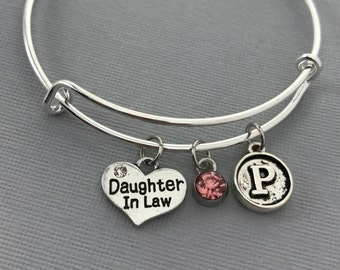 Daughter In Law - Daughter In Law Gifts - Birthday Gift - Family Jewelry -  Charm Bracelet - Personalized Jewelry - Mothers Day