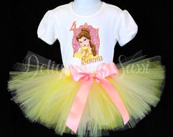 Belle Birthday Tutu, Belle Birthday Outfit, Beauty and the Beast Tutu Set, Birthday Tutu, Personalized Tutu Set, Princess Shirt