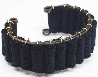 Denim Cuff Bracelet- Upcycled Brass and Black Fabric Bracelet, Textile Jewelry, Denim Jewelry, Recycled Jeans Bracelet, Contemporary Jewelry