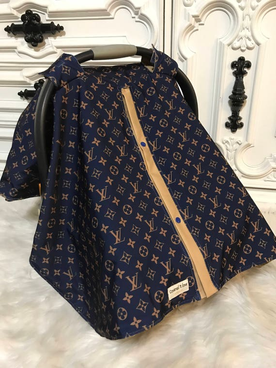 car seat canopy , LV print with tan accents , perfect for him or her