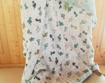 Baby Swaddle Blanket With Tag, Girl, Boy, Dinosaur, Polkadots, Llama, Flowers, Green, Pink, Blue, White, Sensory, Comfort, Snuggle, Cuddle