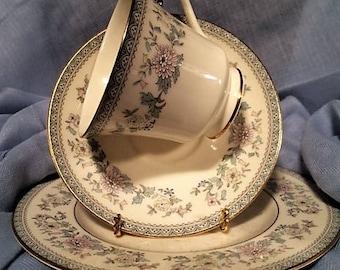 Vintage Minton Bordeaux Royal Doulton Teacup, Saucer, Dessert Plate