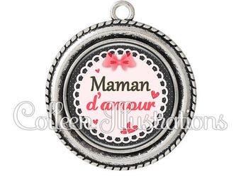 Cabochon 25mm 005ROS01 love MOM pendant