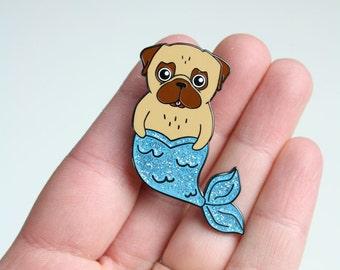 Pug Pin   Merpug   Pug Mermaid   Hard Enamel Pin   Glitter Brooch   Gift For Her   Valentines Gift  Pug Gift   Mermaid Gift   Nais Products