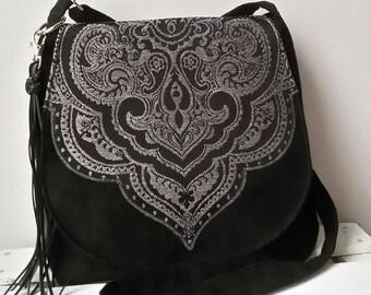 Black oriental evening bag Oriental messenger bag Sling crossbody bag Vegan  bag Boho evening clutch Tassel bag  Hippie bag Festival bag