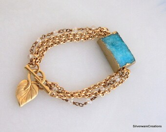 Aqua DRUZY Bracelet with Gold Aluminum Rolo Chain - Made in USA - Ready to Ship