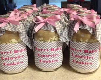 Pink & Gray Chevron Oatmeal Chocolate Chip Mason Jar Cookie Mix - Baby Shower Favor