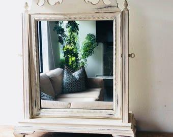 Vintage White Dresser Mirror, Table Mirror, Vanity Mirror