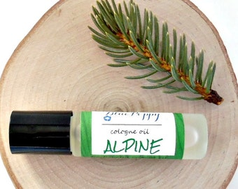 Alpine Cologne Oil, Roll On Fragrance, Frosty Pines Ice & Snow, Woodsy Scent, Mens Cologne, Gift for Men, Mens Grooming, Boyfriend Gift
