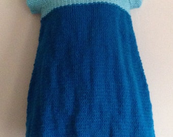 Baby Girl's Dress Age 6-12m Short Sleeve Two Tone Blue Hand Knitted Baby Clothes
