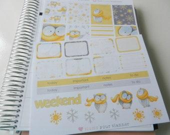 Winter Owl  - set of 34 stickers perfect for Erin Condren Life Planner, Kikki K or Filofax Planner