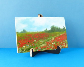 Hand painted card Poppy flower card Handmade paper card Poppy art Greeting card flowers Birthday card Thank you card with art Poppy field