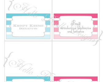 Ombre Gender Reveal Party Printable Food Labels