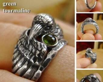 Raven Ring - Green Tourmaline - Silver Ring - Norse Ring - Totem Ring - Bird Ring - Crow Ring - Witch Ring - Nordic Ring - Norse Mythology