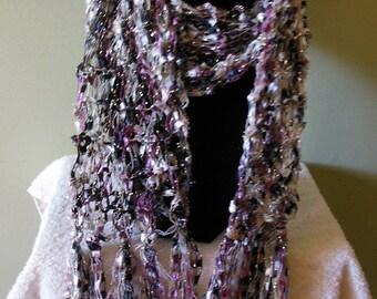 Hand Knit Black, White, and Purple Metallic Scarf