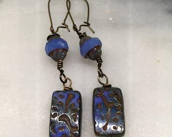 Blue Rectangle Slab Czech Glass Dangle Earrings   Cruise Wear    Boho Jewelry  Product id: LGHFR217