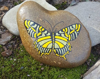 Swallowtail on Stone-YelGoldGitter/Butterfly Painting/Wildlife Art/Butterfly Decor/Home Decor/GardenStone/Yard Art/Painted Rock/Gift for Her