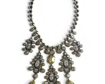 Vintage Schreiner New York Inverted Crystal Rhinestone Filigree Necklace with Jonquil Drops
