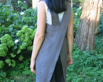 Linen Square-Cross Apron/ No-ties Apron / Japanese Apron/ Gray Linen Apron