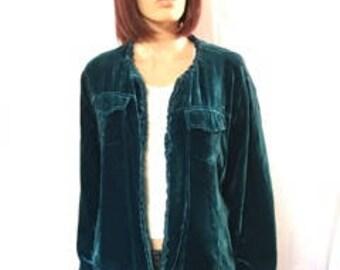Chico's Velvet Jacket, Beautiful Aqua Blazer, Ladies Size 3 XL = size 16, Breast Pockets, Ruffle Trim