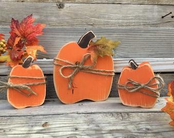 Fall Decorations, Primitive Fall Decor, Handmade Wood Pumpkins, Fall Mantle Decor, Thanksgiving Decorations, Thanksgiving Decor, Thanksgivin